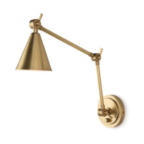 Sal Natural Brass One-Light Swing Arm Wall Lamp