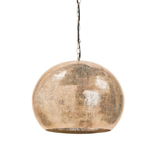 Pierced Natural Brass Five-Light Pendant