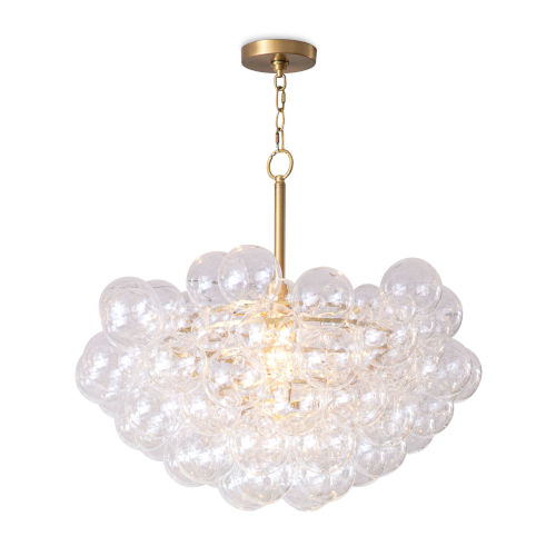 Bubbles Clear and Natural Brass One-Light Chandelier