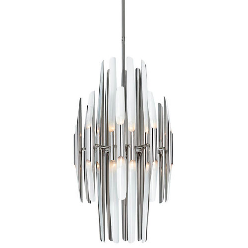 Modern Glamour Polished Nickel and Ivory 36-Light Chandelier