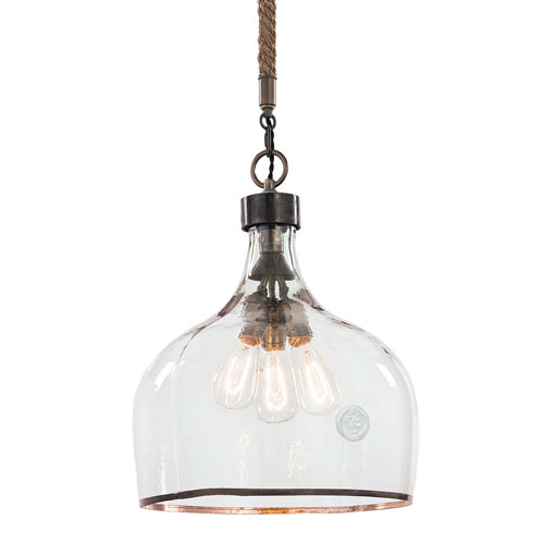 East End Blackened Steel Three-Light Pendant