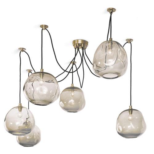 LA Modern Brass 106-Inch Six-Light Pendant