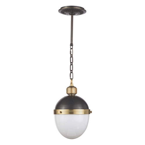 Classics Blackened Steel and Natural Brass One-Light Mini-Pendant