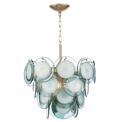 Modern Glamour Natural Brass and Aqua Four-Light Chandelier