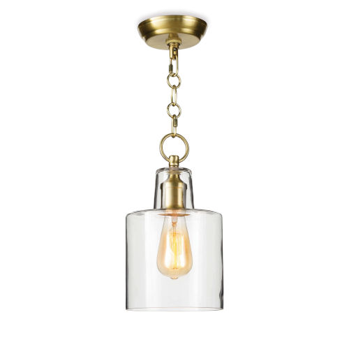 Dutch Clear and Natural Brass One-Light Mini Pendant