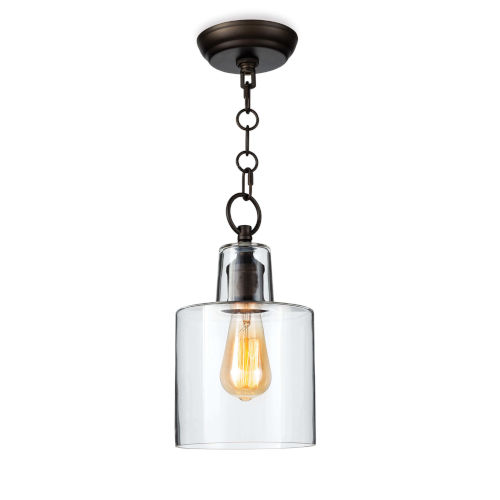 Dutch Clear and Oil Rubbed Bronze One-Light Mini Pendant