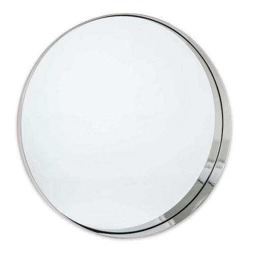 Gunner Polished Nickel Round Wall Mirror