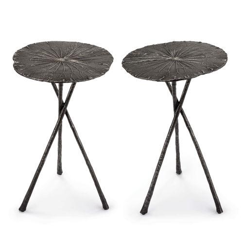Lotus Dark Nickel Table, Set of 2