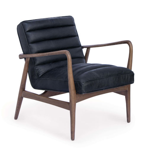Piper Antique Black Leather Chair