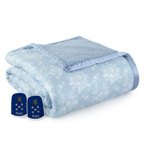 Shavel Home Products Toile Wedgewood Queen Micro Flannel Reverse to Sherpa Electric Blanket