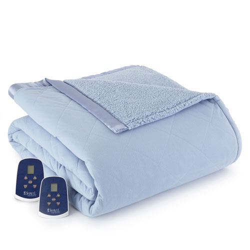 Shavel Home Products Wedgewood Queen Micro Flannel Reverse to Sherpa Electric Blanket