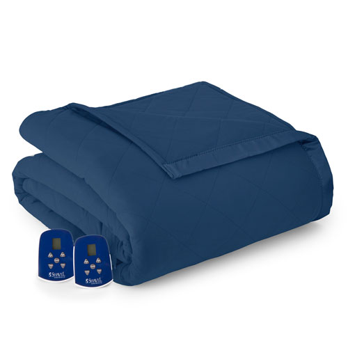 Shavel Home Products Smokey Mt. Blue Twin Micro Flannel Electric Blanket