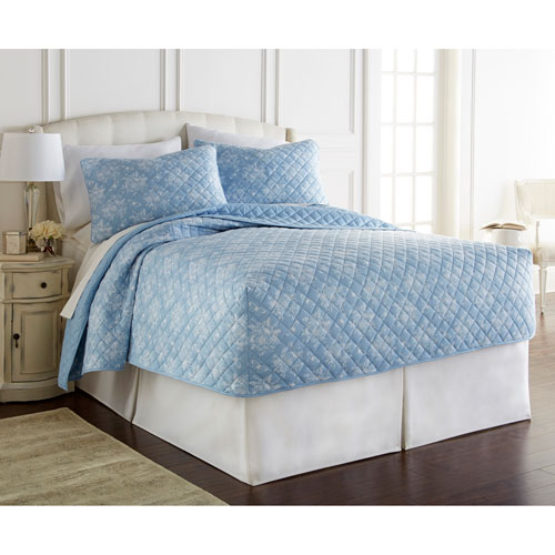 Shavel Home Products Toile Wedgewood Queen Micro Flannel Fitted Mini Quilt, Set of 3
