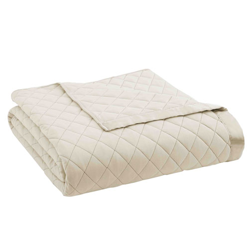 Shavel Home Products Ivory Full/Queen Micro Flannel Quilted Blanket