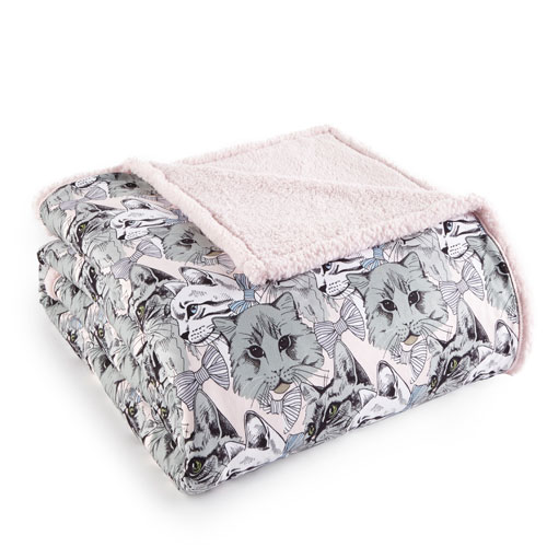 Shavel Home Products Cat Collage Twin Micro Flannel Sherpa Blanket