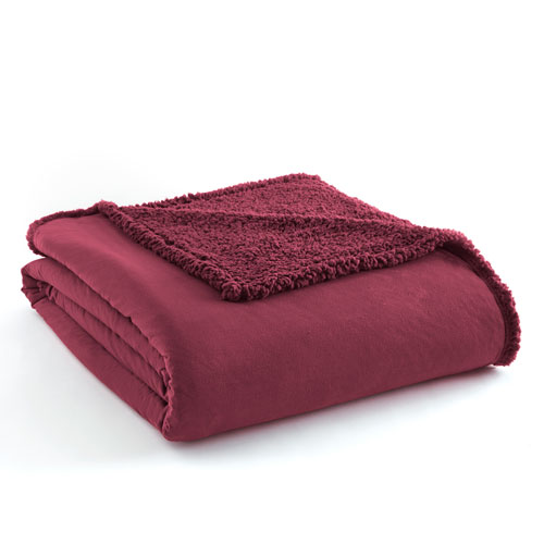 Shavel Home Products Wine Twin Micro Flannel Sherpa Blanket