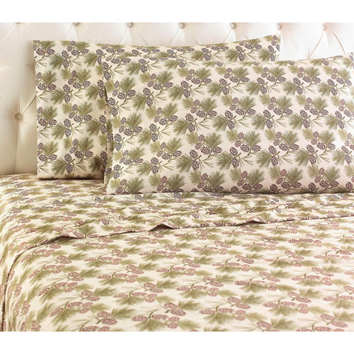 Shavel Home Products Pinecone Cal King Micro Flannel Sheet, Set of 4