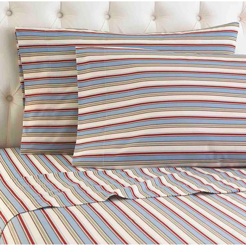 Shavel Home Products Awning Stripe Full Micro Flannel Sheet, Set of 4