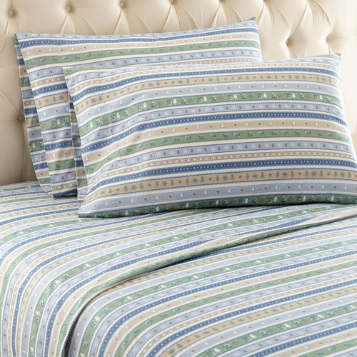 Calico Stripe Micro Flannel Sheet Set