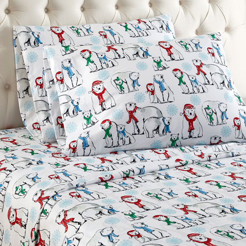 Shavel Home Products Polar Bears Full Micro Flannel Sheet, Set of 4