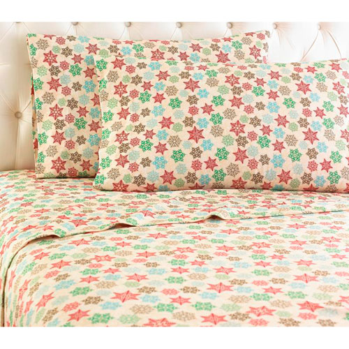 Shavel Home Products Snowflake Full Micro Flannel Sheet, Set of 4