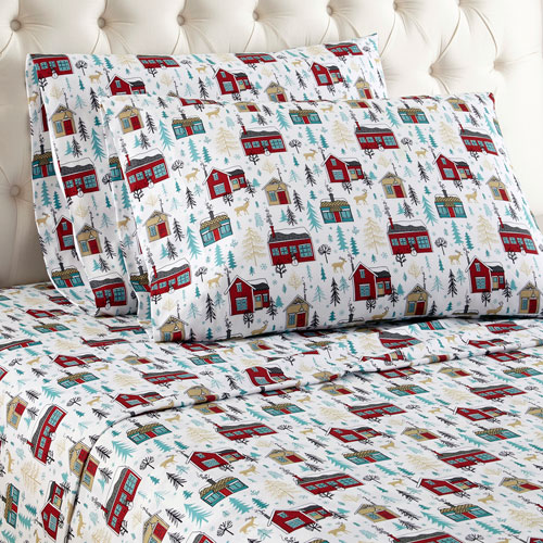 Shavel Home Products Cabins Queen Micro Flannel Sheet, Set of 4