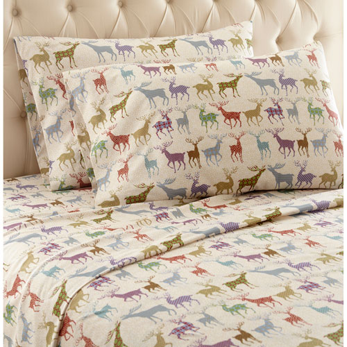 Shavel Home Products Colorful Deer Queen Micro Flannel Sheet, Set of 4