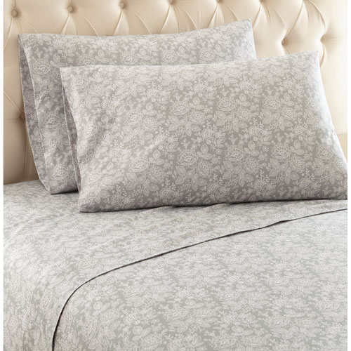 Shavel Home Products Enchantment Gray Queen Micro Flannel Sheet, Set of 4