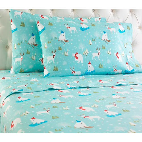 Shavel Home Products Fun in the Snow Queen Micro Flannel Sheet, Set of 4