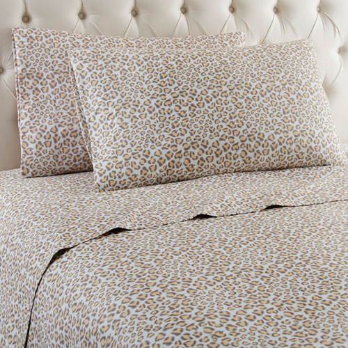 Shavel Home Products Leopard Queen Micro Flannel Sheet, Set of 4