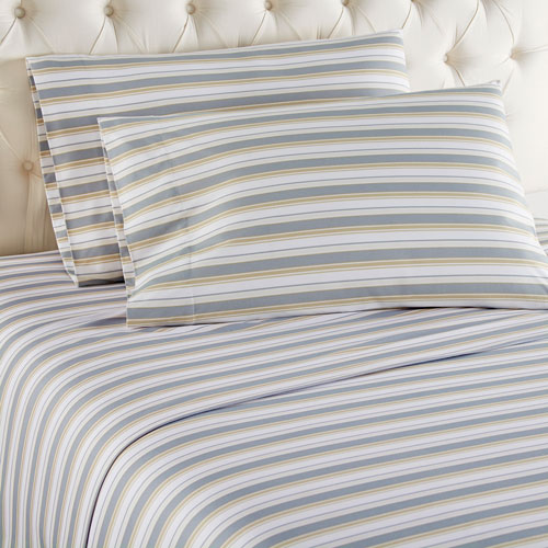 Metro Stripe Micro Flannel Sheet Set