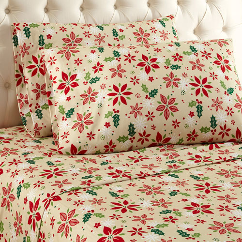 Shavel Home Products Poinsettia Queen Micro Flannel Sheet, Set of 4