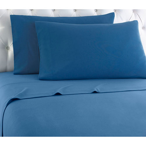 Shavel Home Products Smokey Mt. Blue Queen Micro Flannel Sheet, Set of 4