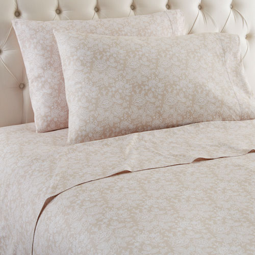 Shavel Home Products Enchantment Taupe Twin Micro Flannel Sheet, Set of 3