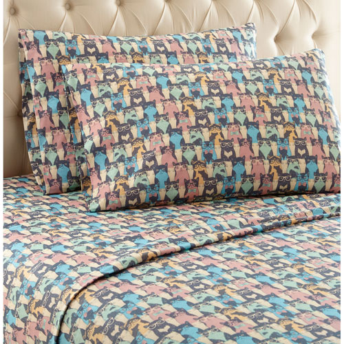 Shavel Home Products Kool Kats Twin Micro Flannel Sheet, Set of 3