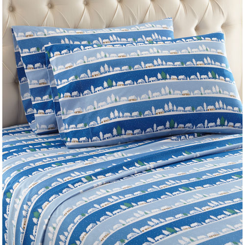 Shavel Home Products Winter Village Twin Micro Flannel Sheet, Set of 3