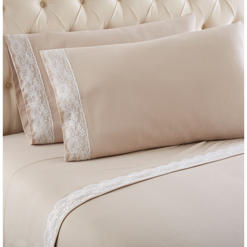 Taupe Twin Micro Flannel Lace Edged Sheet, Set of 3