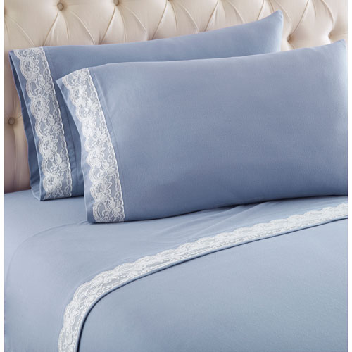 Wedgewood Twin Micro Flannel Lace Edged Sheet, Set of 3