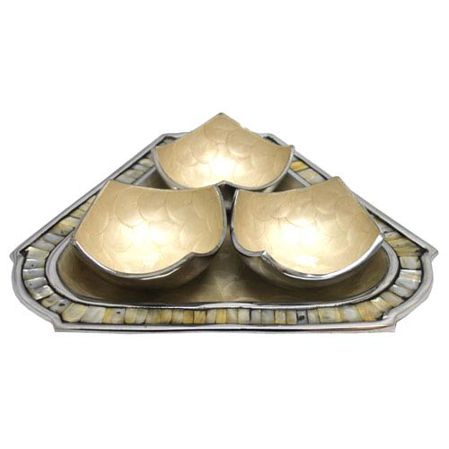 KINDWER White Enamel and Polished Aluminum Three-Bowl and Triangular Tray Set Center Piece
