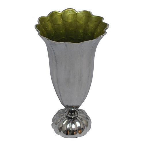 St. Croix Trading KINDWER Light Green Enamel and Polished Aluminum Scalloped Vase