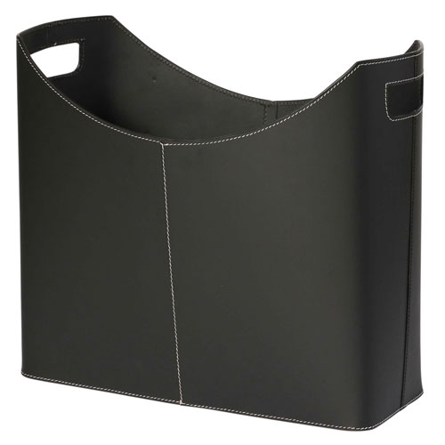 Kindwer Black Leather Magazine Basket