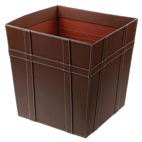 Kindwer Brown Leather Waste Basket