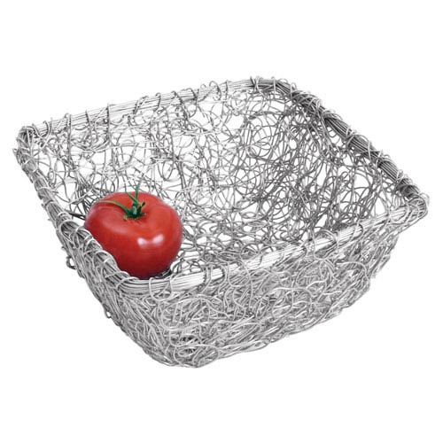 "A1034 Silver St Croix Kindwer 9/"" Square Twist Wire Mesh Basket"