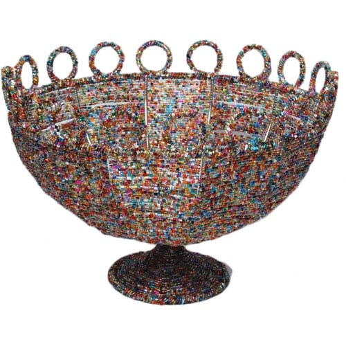 St. Croix Trading Kindwer Multi-Colored Round Beaded Decorative Basket