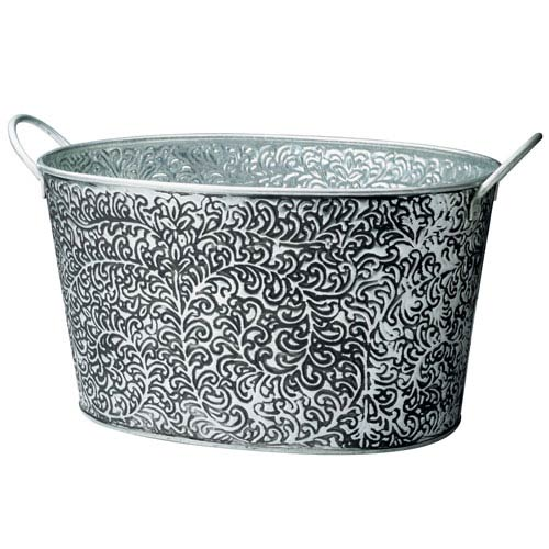 Kindwer SIlver Antiqued Vine Relief Oval Party Tub