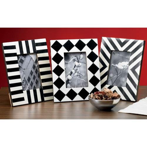 St. Croix Trading  Kindwer Black Horn and Bone Geometric 4x6 Frames, Set of Three