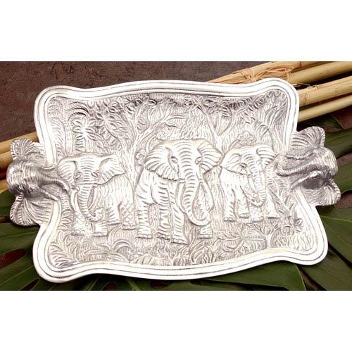St. Croix Trading Kindwer Silver Cast Aluminum Elephant Platter
