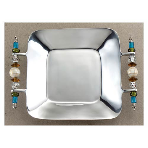 St. Croix Trading Kindwer Silver Beaded Square Serving Tray