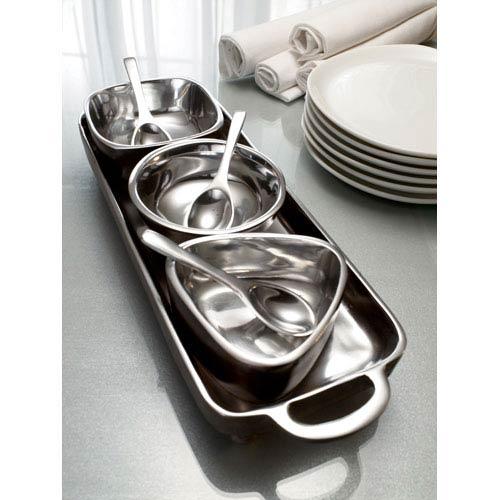 Kindwer Silver Tray & Bowl Condiment Set