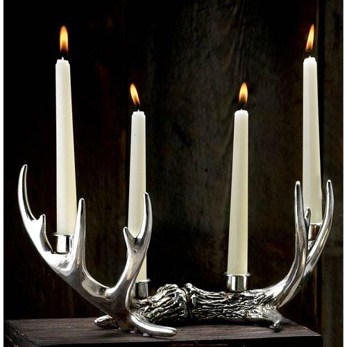 Kindwer Silver 14 Point Antler Candle Holder
